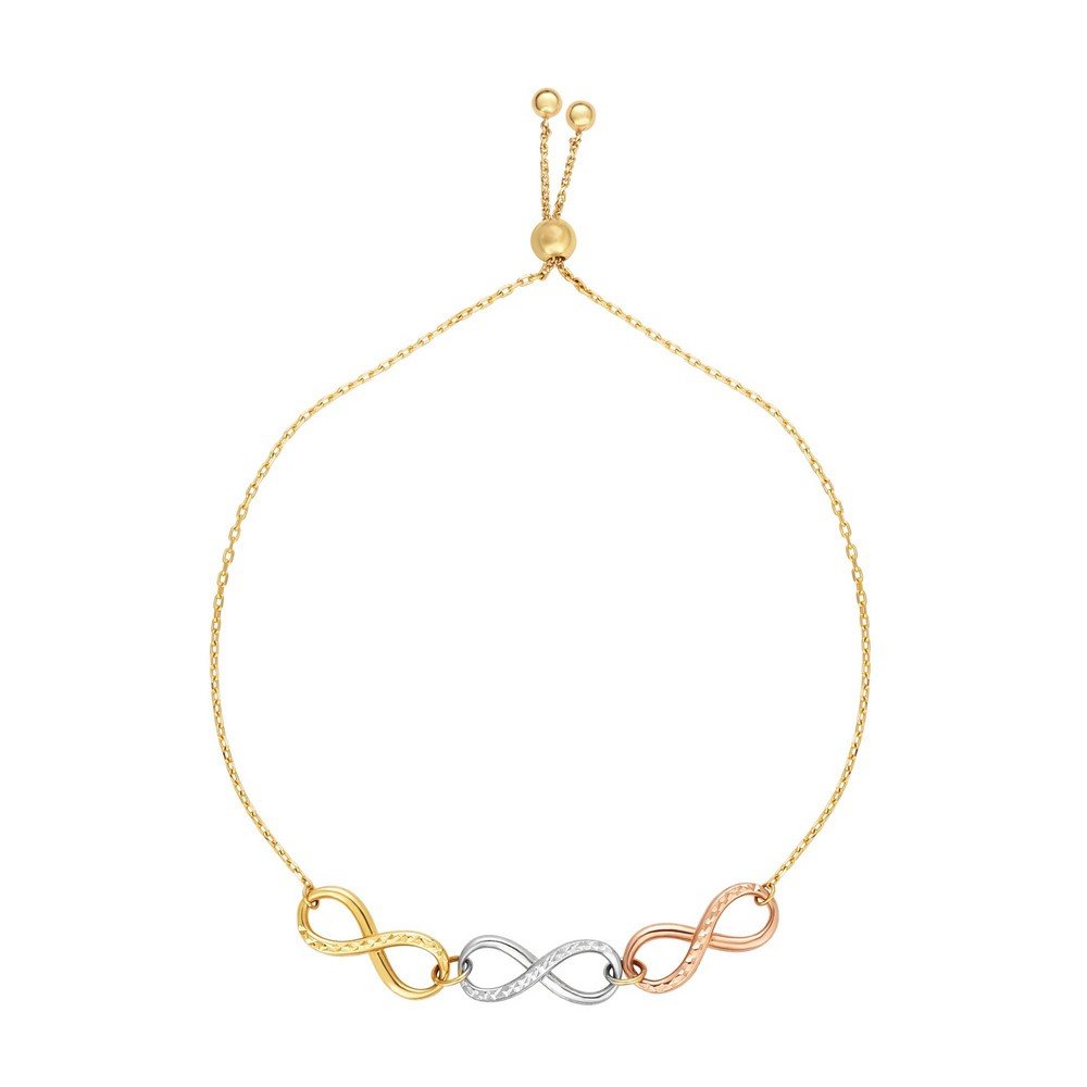 14k Gold Rose Yellow White 5.7mm Diam-cut Adjustable Infinity Bracelet Draw String Clasp 9.25 Inch by