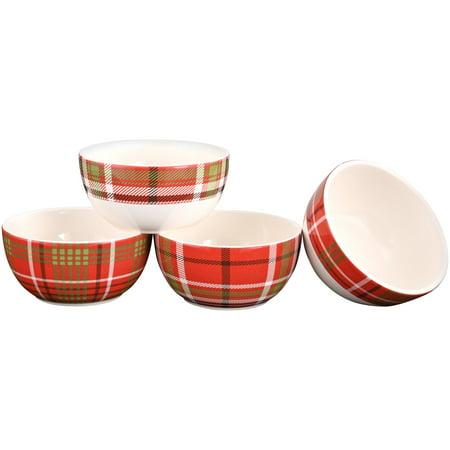 Mainstays Plaid Microwave & Dishwasher Safe Ceramic Bowl Set, 4 Count Dishwasher Safe Oval Bowls