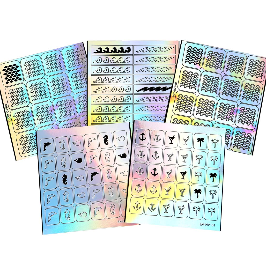 Maniology (formerly bmc) 5 Sheet Holographic Nail Art Vinyl Sticker Guides - Beach Collection