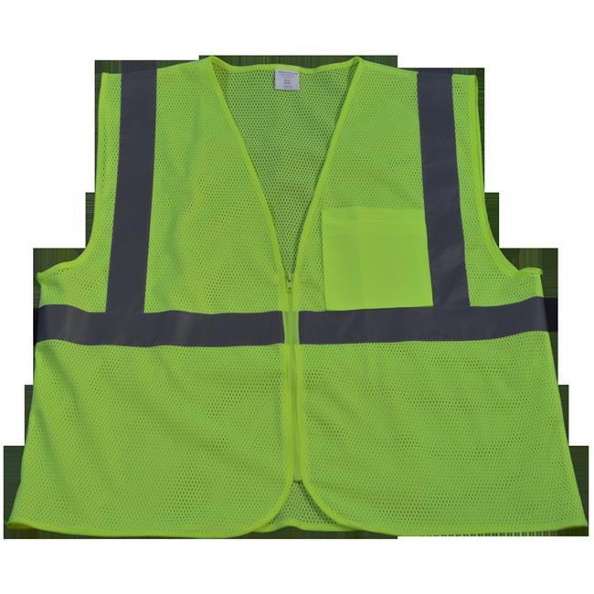 LVM2-CB0-S-M Safety Vest Ansi Class 2 Contrast Binding, Lime Mesh - Small & Medium