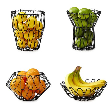 Shape Basket Setting (Fruit Basket Bowl Metal Kitchen Folding Storage Accessory Five Functional Shapes )