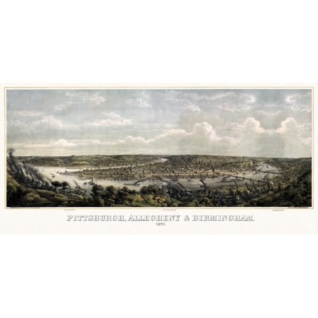 Old Map Of Pittsburgh Pennsylvania 1871 Allegheny County Canvas Art     36 X 54
