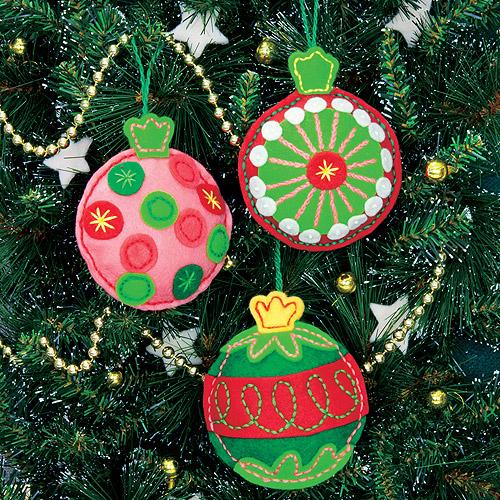"""Dimensions Simple Cheer Ornaments Felt Applique Kit, 4"""" x 4.5"""", Set of 3"""