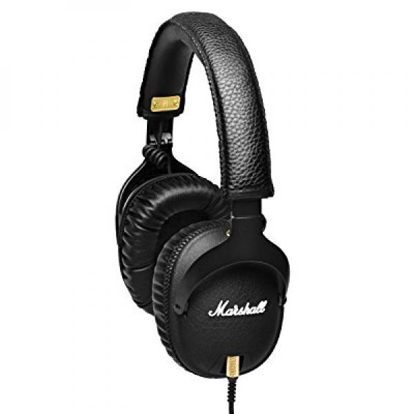 Marshall Monitor Over The Ear Original Studio Headphones with Mic & Remote Double-Ended Coil Cord and Carrying Pouch