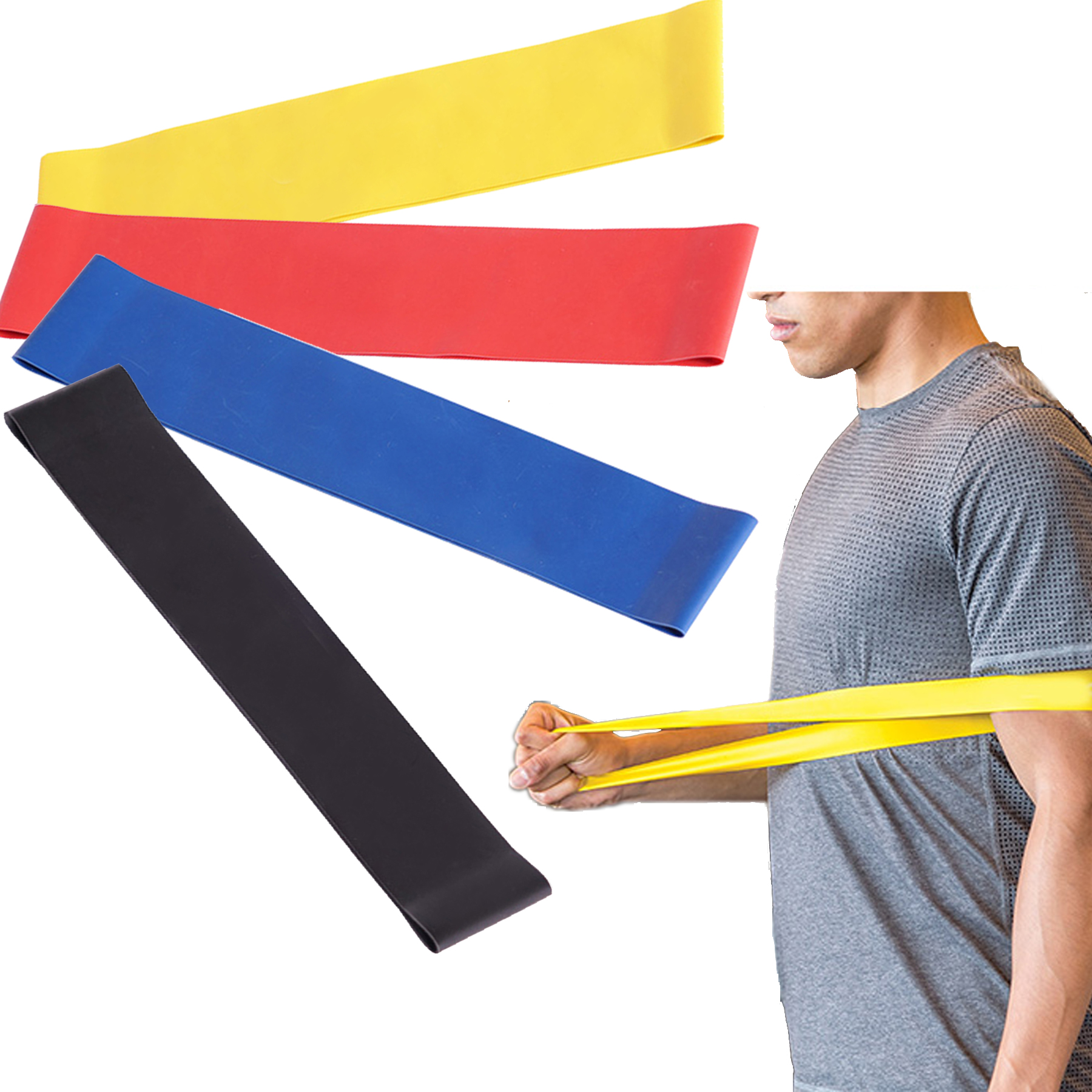 EBK Resistance Bands - Best Exercise Loop Band Set of 4 - Workout Equipment for Yoga Crossfit Fitness Pilates Strength Physical Therapy Mobility Recovery - Training Body Legs Glutes Butt