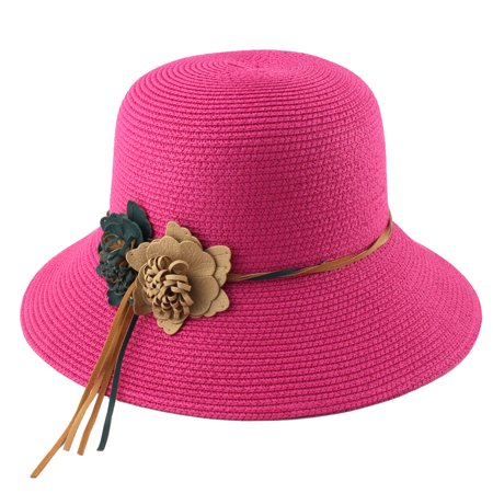 6a6511f8c8b Unique Bargains - Ladies Straw Flower Design Foldable Summer Beach Cap Wide  Brim Sun Hat - Walmart.com