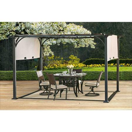 Sunjoy Doubleton Pergola with Canopy, Steel Patio Shade Gazebo 8' x 10', Brown ()