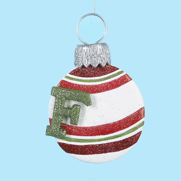 "3 Monogram ""F"" Glitter Striped Claydough Christmas Disk Ornaments 5.25""(133mm)"