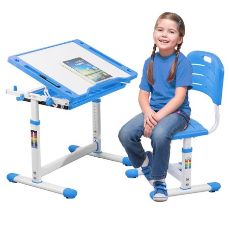 Children Desk Kids Study Child School Adjustable Height Children's Table Chair Set with Storage Perfect Gift For