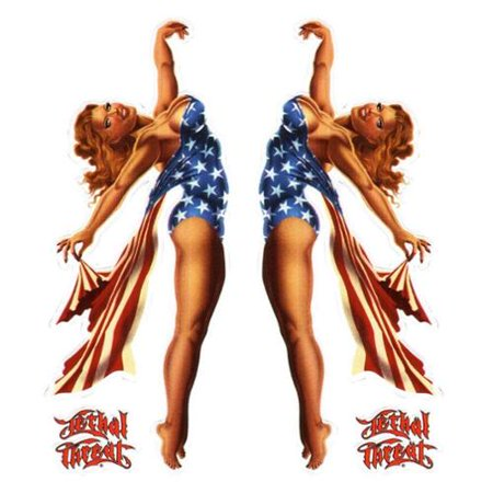 Lethal Threat USA Pin Up Girl Decal Sticker Car SUV Truck 6