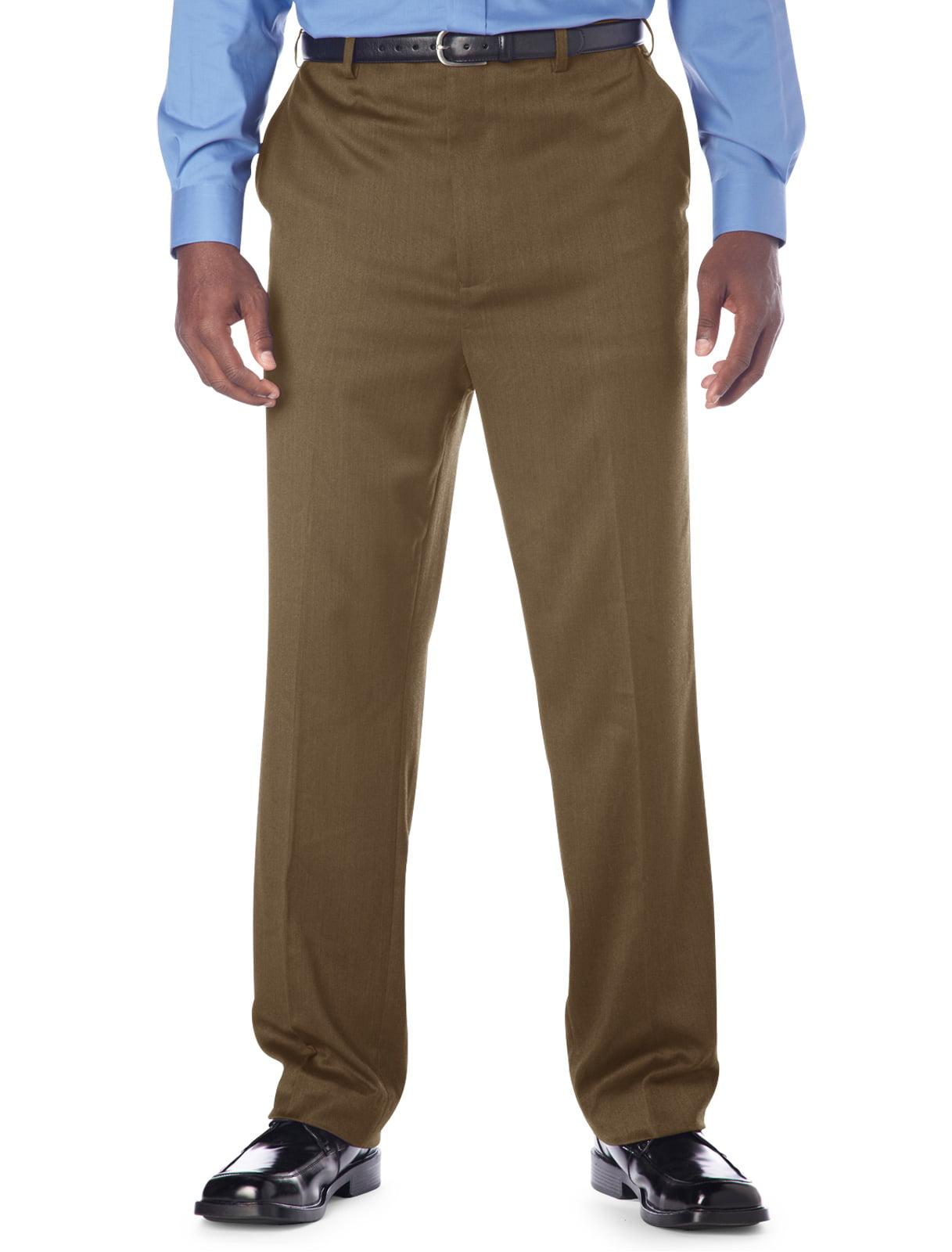 Men's Big & Tall Gold Series Continuous Comfort Flat-Front Sateen Pants--Unhemmed