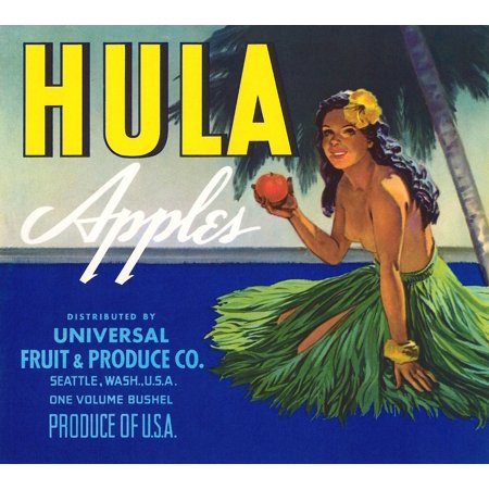 Fruit crate label for a brand of apples packed by Universal Fruit & Produce in Seattle Washington  The Native Hawaii girl in a hula skirt holds a delicious apple under a palm tree Poster Print by