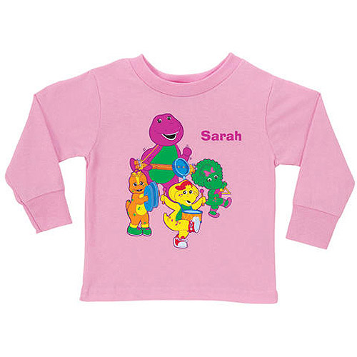 Personalized Barney Band Pink Toddler Girl Long Sleeve Tee