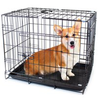 """Brybelly 30"""" MEDIUM Dual-Door Folding Pet Crate with Removable Liner"""