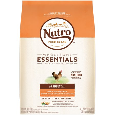 NUTRO WHOLESOME ESSENTIALS Adult Dry Dog Food Farm-Raised Chicken, Brown Rice & Sweet Potato Recipe, 30 lb.