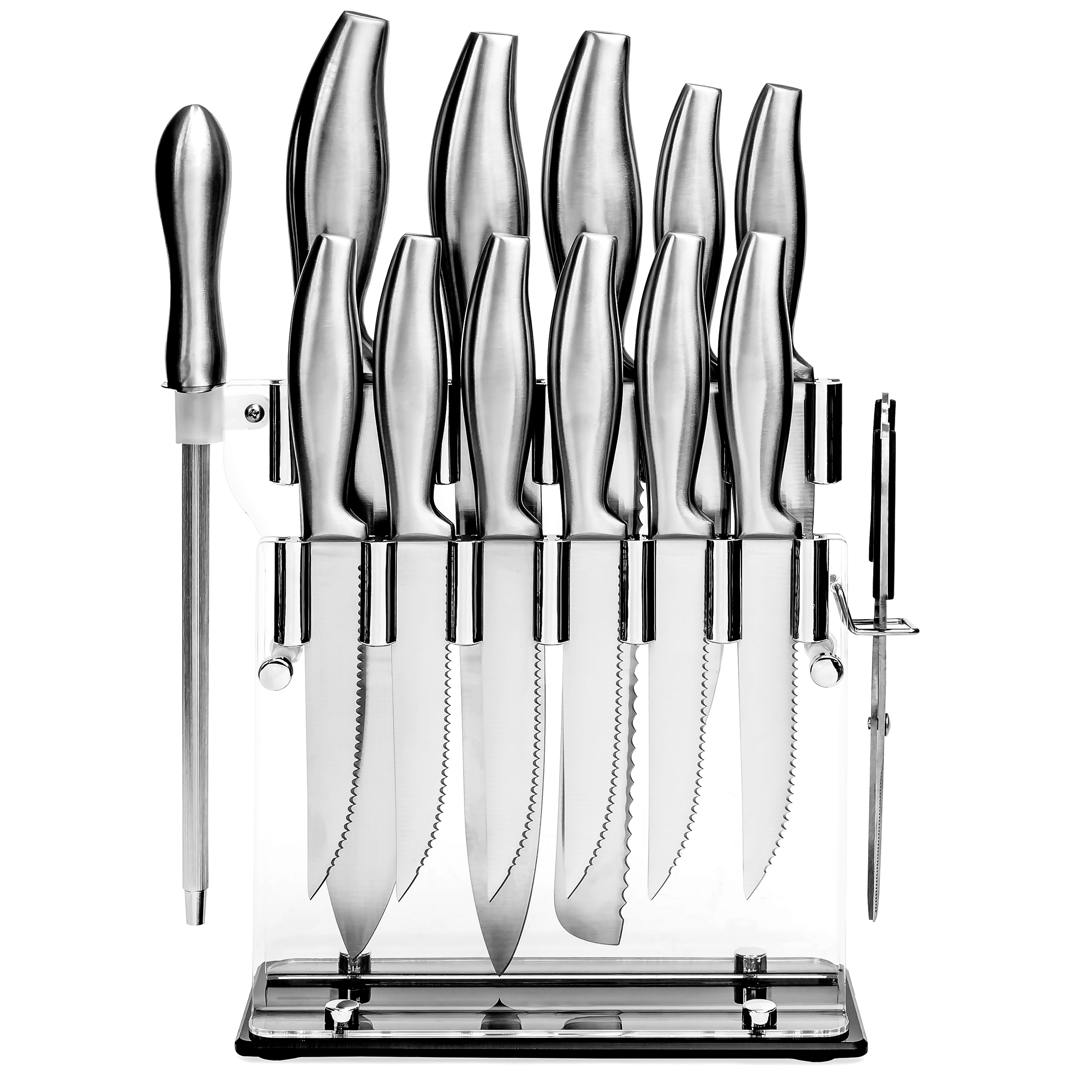 Click here to buy Best Choice Products 14-Piece Stainless Steel Kitchen Knife Block Set w  Sharpener Silver by Best Choice Products.