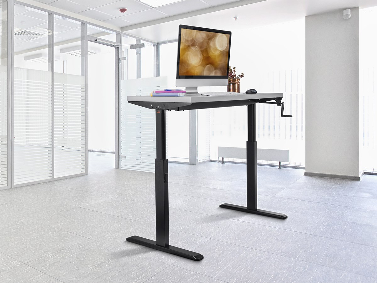 Monoprice Sit Stand Height Adjule Table Desk Frame Workstation Manual Crank
