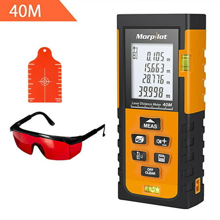 Laser Measure - Morpilot 131ft Laser Tape Measure with Target Plate & Enhancing Glasses, Laser Measuring tool with Pythagorean Mode, Measure Distance, Area, Volume (Best Laser Tape Measure)