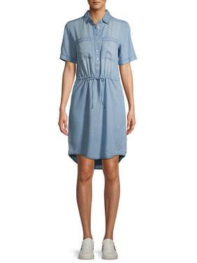 EV1 from Ellen DeGeneres Short Sleeve Tie Waist Denim Dress Women's