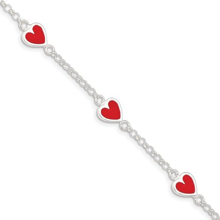 925 Sterling Silver Enamel Red Heart Childs Bracelet 6 Inch Fine Jewelry Ideal Gifts For Women Gift Set From Heart