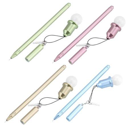 Yosoo 4Pcs/set Decorative Light Bulb Plastic Gel Ink Pen School Students Office Writing Stationery,Ink Pen, Gel Ink Pen - Decorative Pens