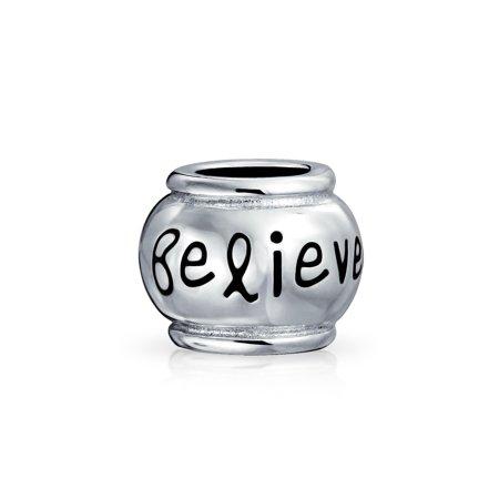 - Word Believe Message Inspirational Barrel Charm Bead For Women For Teen 925 Sterling Silver Fits European Bracelet