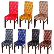 Comfort Stretch Dining Room Chair Covers,3D Printed Spandex Dining Chair Protector, Removable Washable Short Dining Chair Seat Covers for Dining Room, Kitchen, Party, Bar