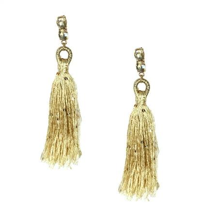 Sophia Elegant Tassel Drop Earrings, Gold (Gold Tassel Earrings)
