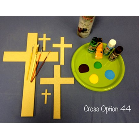 Wooden Cross Cutout, 16'' Paintable Wood Cross, Unfinished Craft (44)