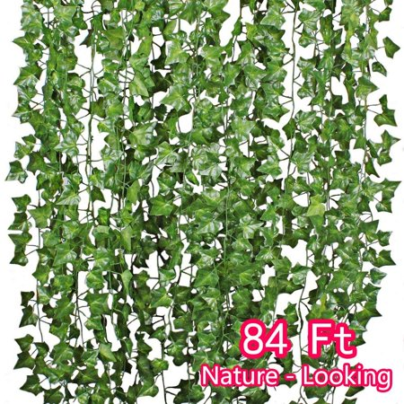 - 84FT 12 Strands Artificial Flowers Greenery Fake Hanging Vine Plants Silk Wisteria Garland Hanging for Home Kitchen Garden Office Wedding Wall Décor