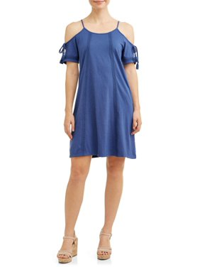 5dee0c11c Product Image Women's Cold Shoulder Tie Sleeve Dress With Lace Trim