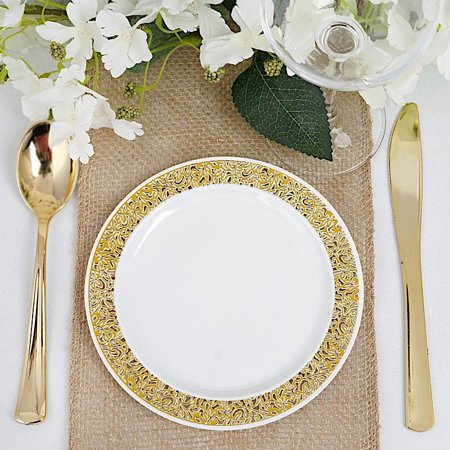 BalsaCircle 10 pcs Disposable Plastic Round Plates with Lacy Trim for Wedding Reception Party Buffet Catering Tableware