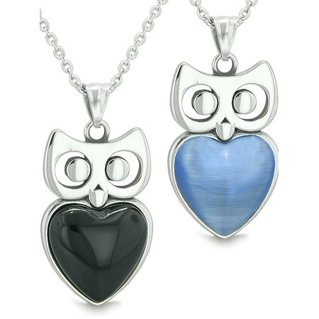 Amulets Owl Cute Hearts Love Couples Simulated Black Onyx Star Blue Simulated Cats Eye Pendant Necklaces