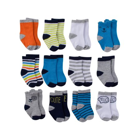 Assorted Jersey Crew Socks, 12pk (Baby Boy)