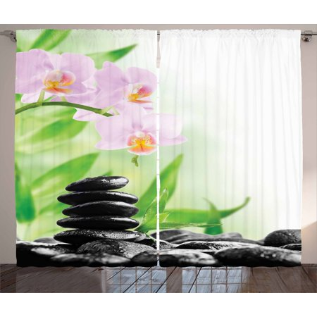 Spa Curtains 2 Panels Set, Zen Basalt Stones and Orchid with Dew Peaceful Nature Theraphy Massage Meditation, Window Drapes for Living Room Bedroom, 108W X 84L Inches, Black Pink Green, by Ambesonne ()