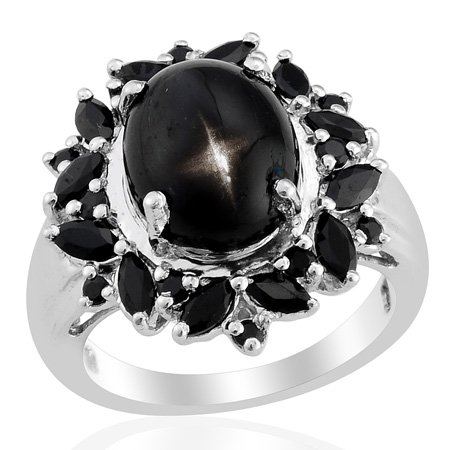 Silver Platinum Plated Black Spinel Star Chrome Diopside Statement Ring Size (Diopside Set Ring)