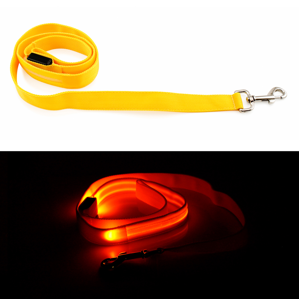 LED Glow Collar Dog Pet Flashing Light Night Safety Adjustable Leash Nylon Collar