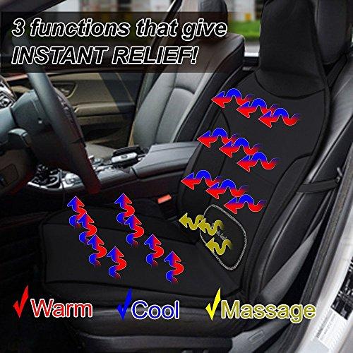 Zento Deals Cooling Heating Massaging Adjustable 12V Car Seat Cushion
