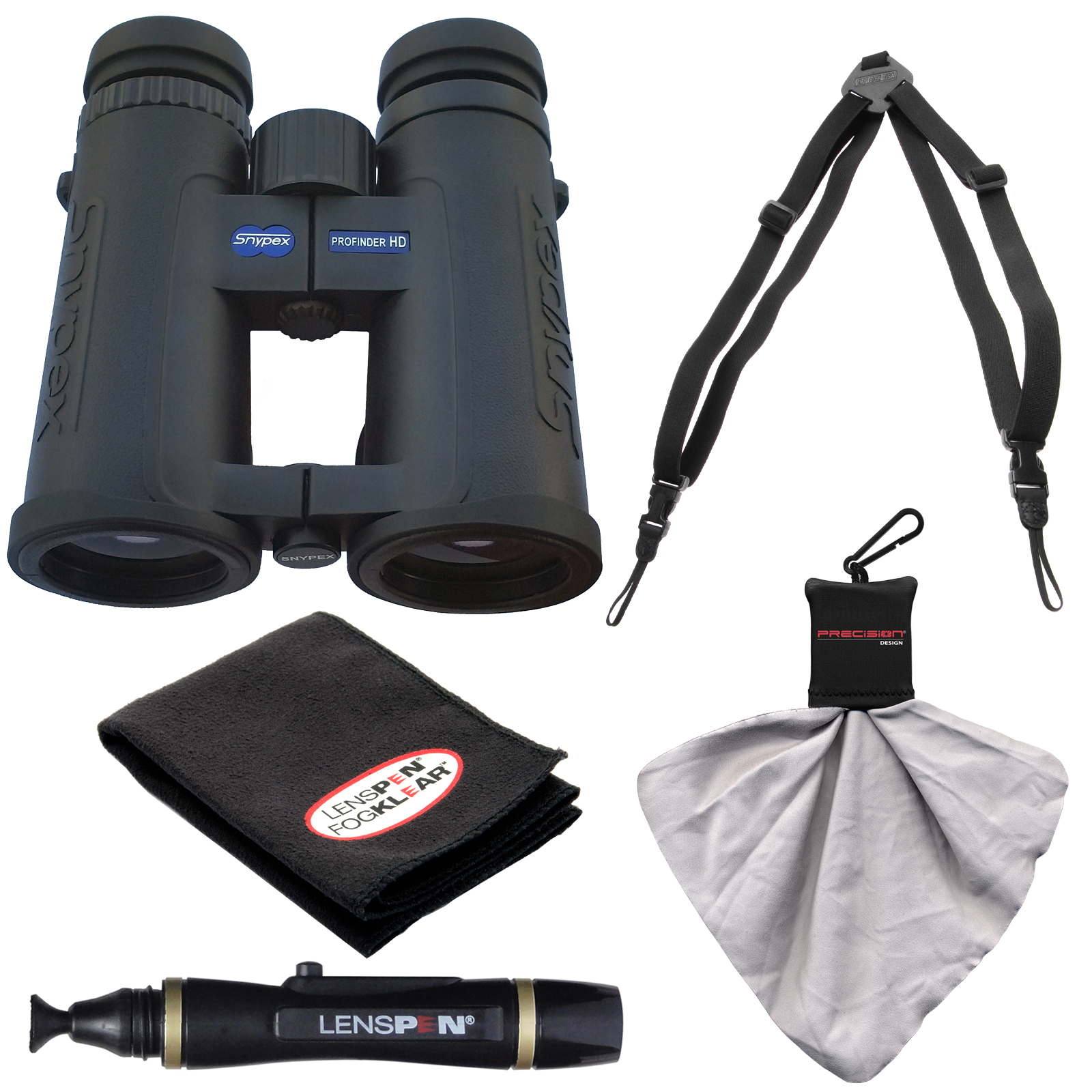 Snypex Profinder HD 8x42 Waterproof/Fogproof Binoculars with Case with Harness + LensPen Cleaning Kit