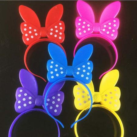 Led Headband Lights (8 LED Flashing Polka Dots Light up Head Band Bows Bunny Ears Party)
