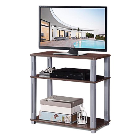 - Gymax 3-Tier TV Media Stand Component Console Multipurpose Shelf Display Rack Walnut