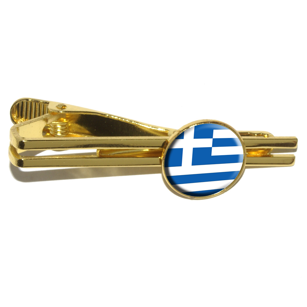 Greece Greek Flag Round Tie Clip by Graphics and More