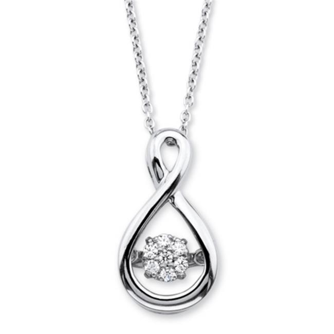 PalmBeach Jewelry 56585 Diamond in Motion Loop Pendant Necklace in Platinum Over Sterling Silver, 18 inch by PalmBeach Jewelry