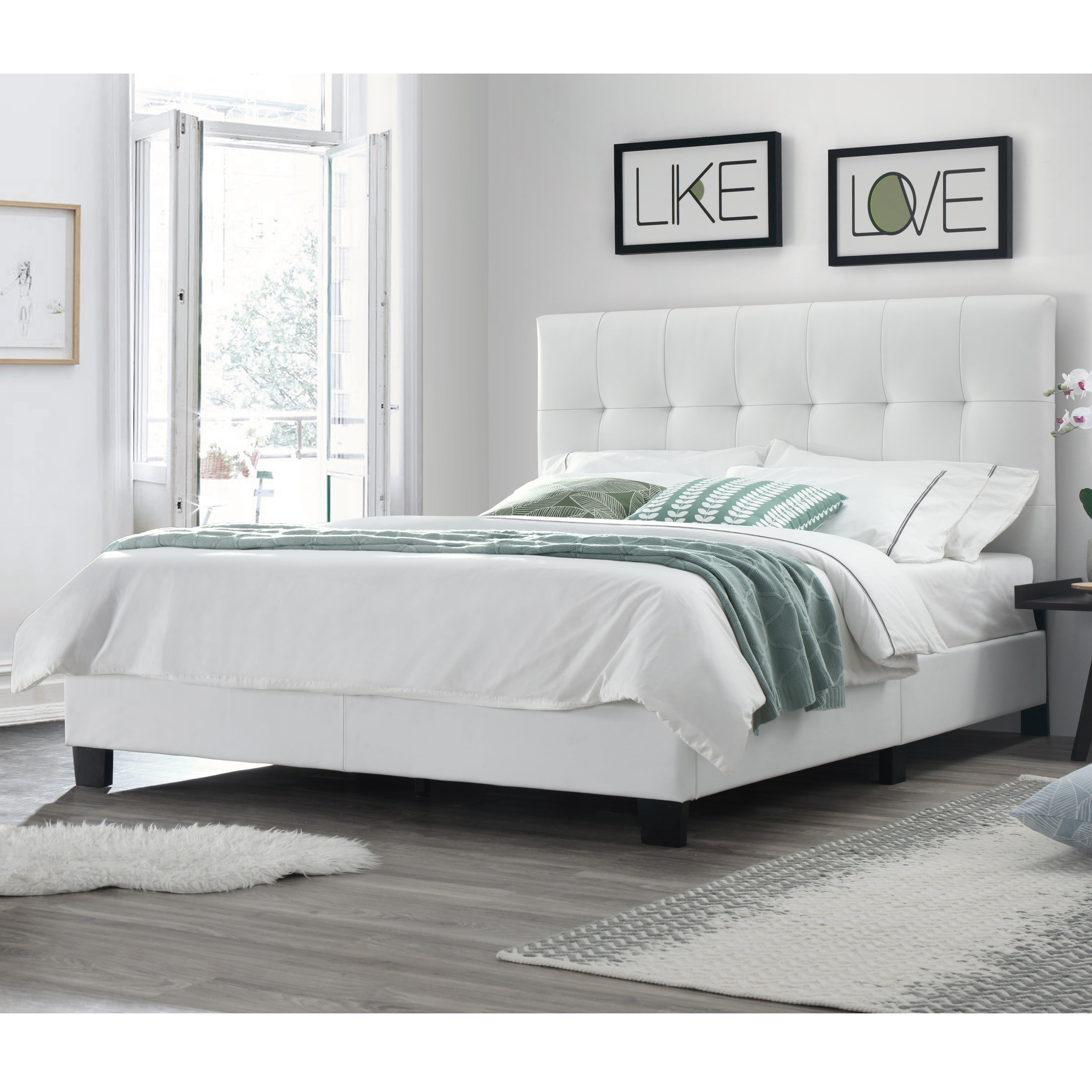 Picture of: Dg Casa Bianca Tufted Upholstered Platform Bed Frame Queen Size In White Faux Leather Walmart Com Walmart Com