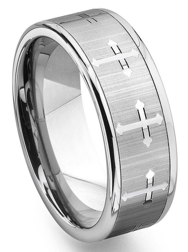 Ring Size 9 Security Jewelers Cobalt 8mm Black Laser Cross Design Band Size 9