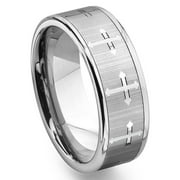 Titanium Kay Tungsten Carbide Men's Wedding Band Ring (7.5mm) with Cross Design Sz 10