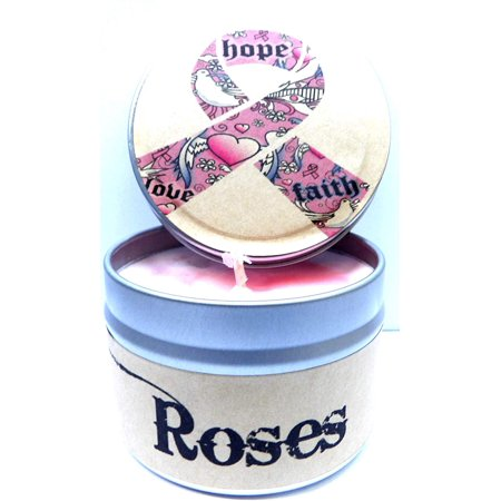 Hope Cancer Awareness (Rose Aroma) - 4oz All Natural Soy Candle Tin