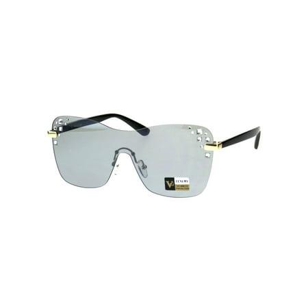 d16699d9734 SA106 - Womens Rhinestone Panel Shield Oversize Butterfly Fashion Sunglasses  Black Grey - Walmart.com