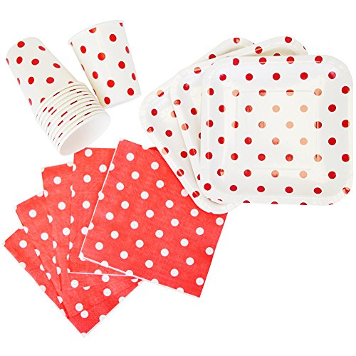 Just Artifacts Disposable Party Tableware 44pcs Polka Dot Pattern Dining Set (Square Plates, Cups, Napkins) - Color: Red - Decorative Tableware for Parties, Baby Showers, and Life Celebrations!