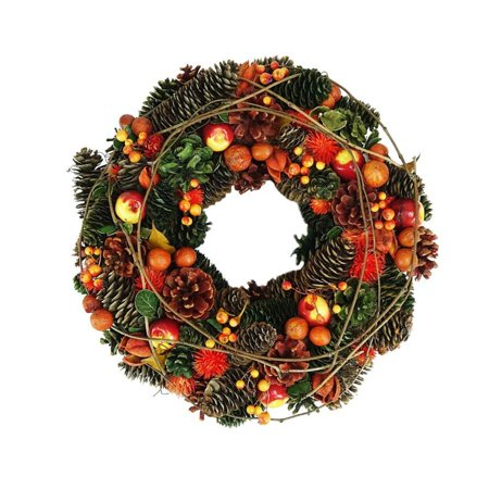 "14.75"" Autumn Harvest Apples Berries and Pinecones Wreath Decoration"